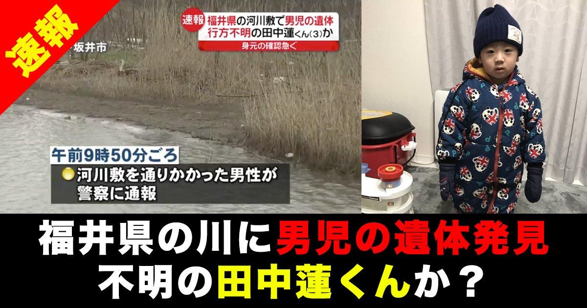 88 190 1 - 【速報】 福井県の川に男児の遺体が発見!不明の田中蓮くんか?