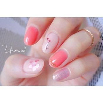 ショートネイル ピンク
