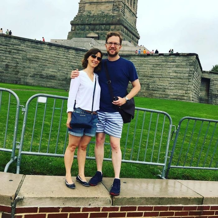 Still Chuckling At This: We Asked A Passer-By To Take A Picture Of Us With The Statue Of Liberty...