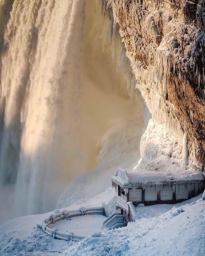 Winter Mornings At Journey Behind The Falls Make For Some Of The Most Spectacular Photos! The Warm Light Creating An Inviting Glow That Stands In Stark Contrast To The Ice And Snow That Covers The Falls And Gorge.