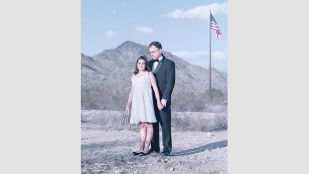 Jenna Clark, de 11 anos, e o pai, Jeff, no Arizona