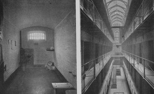 A cell and the galleries at Newgate prison where Amelia Dyer was jailed before her hanging in 1896