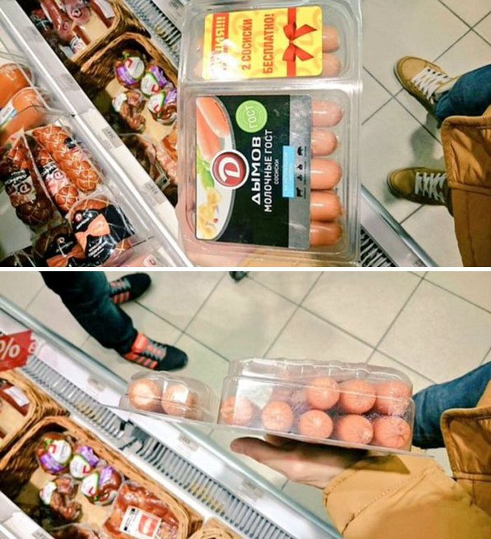 Typical Sale In Russia. Buy A Pack, Get A 2 Hot Dogs Free