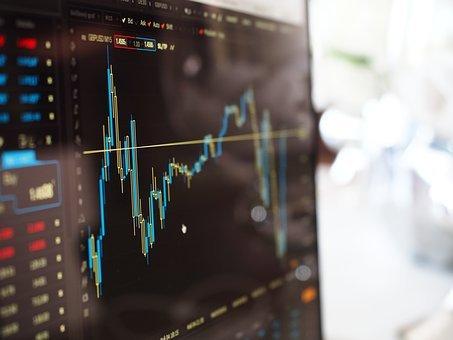 흐림, 사업, 차트, 컴퓨터, 데이터, 금융, 그래프, 성장, 빛, 선