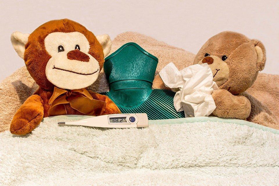 감기, 코를 킁킁 거리다, 손수건, 발열 온도계, 디지털 온도계, 증가 된 온도, 빛의 온도