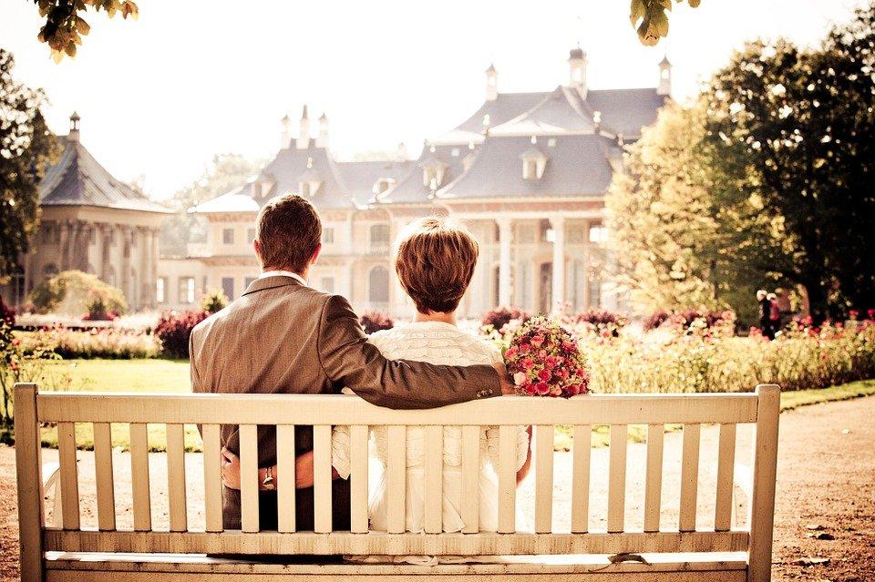 커플, 신부, 사랑, 결혼식, 벤치, 휴식