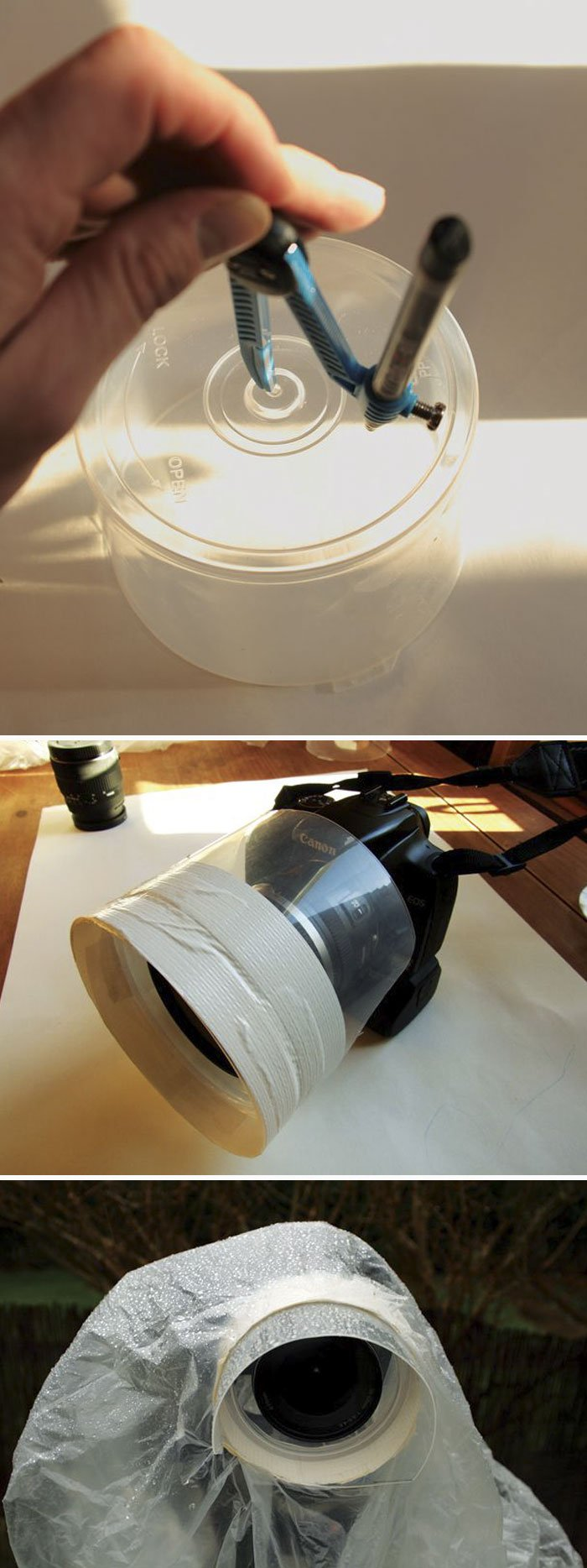 Blank CD Case Is The Perfect Rain Guard For Your Lens