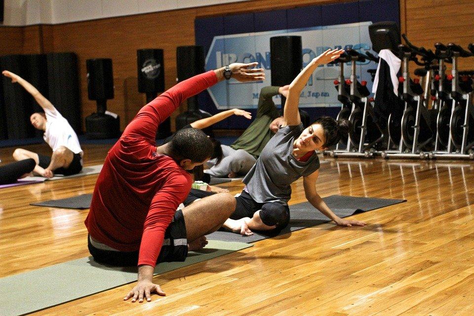 운동, 체육관, 스트레칭, 연습, 휴양, 남자, 여자