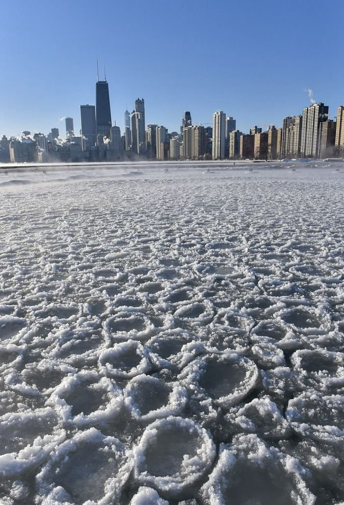 Pancake Ice Has Formed In A Secluded Bay Near North Avenue Beach
