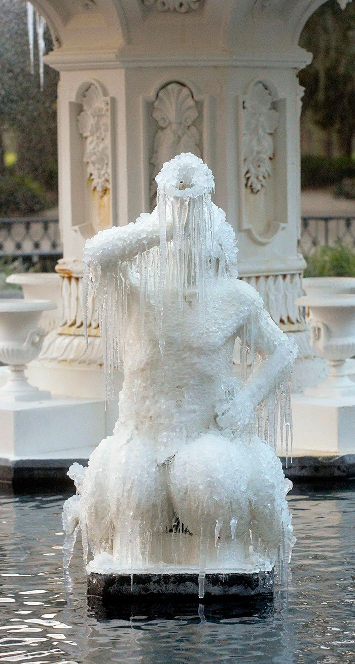 Icicles Form On The Tritons In The Forsyth Park Fountain