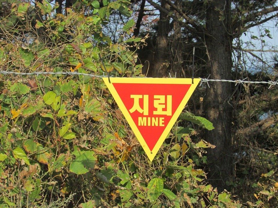 표지판, 경고, 지뢰, 위험, 소청도, 전쟁, 인천, 서해 5도