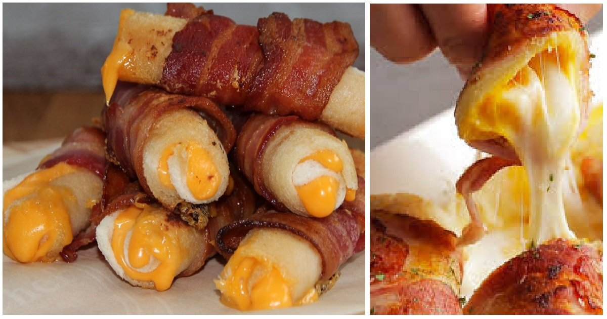 baconwrapped2 1.jpg?resize=1200,630 - Recipe For Making Delicious Bacon Cheese Rolls In Less Than 30 Minutes
