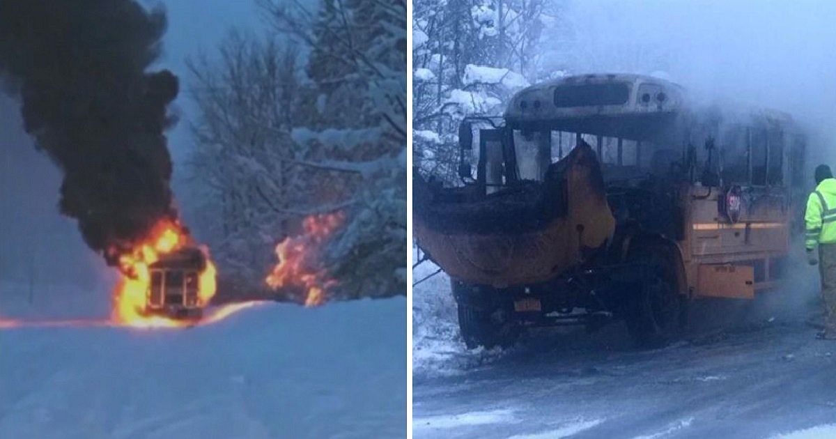 busfire4 1 - Bus Driver Tells Kids to Get Off Right Away! Seconds Later, The Bus Bursts Into Flames