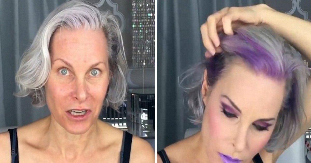 ec8db8eb84ac1 19.jpg?resize=1200,630 - Mulher coloca apliques roxos no seu cabelo grisalho e fica com um visual extraordinário!