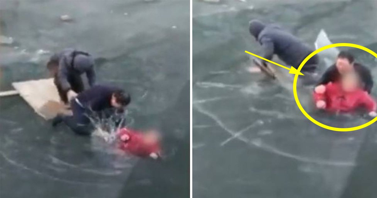 ec8db8eb84ac21.jpg?resize=1200,630 - Man Finds an Elderly Woman Trapped in a Frozen River and Risks His Life to Save Her