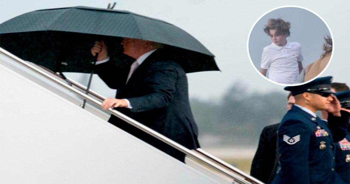 ec8db8eb84ac4 19.jpg?resize=648,365 - Le président Trump s'illustre en s'accaparant un parapluie alors que sa femme et son fils se font tremper!