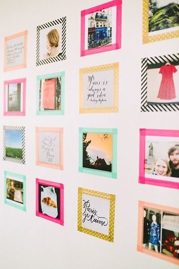 fashionable decoration of digital camera pictures 98f06eed10b7219b700d79393d26eef1  washi tape frame washi tape ideas wall - 必読!デジカメ写真のおしゃれな飾り方3選!