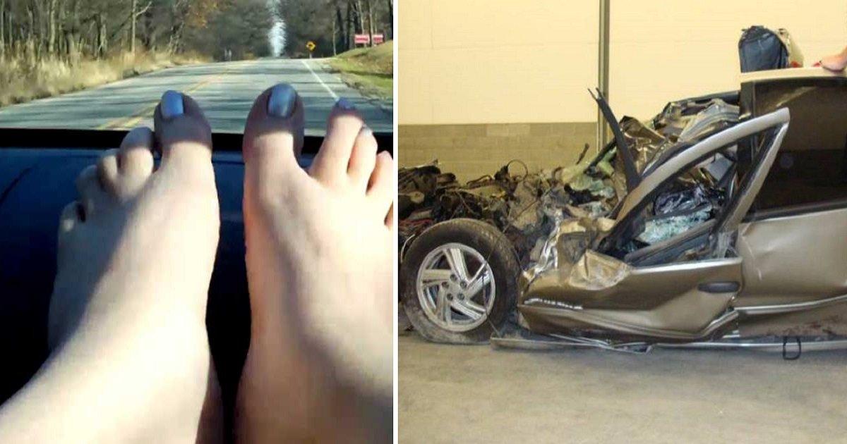 feet on dashboard featured1.jpg?resize=648,365 - Mulher dormia com os pés no painel do carro quando sofreu um acidente; As consequências foram horríveis