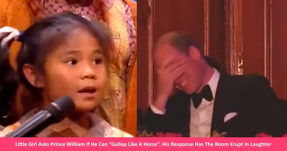 "gallophorse.jpg?resize=1200,630 - Little Girl Asks Prince William If He Can ""Gallop Like A Horse"", Then His Response Has The Room Erupt In Laughter"