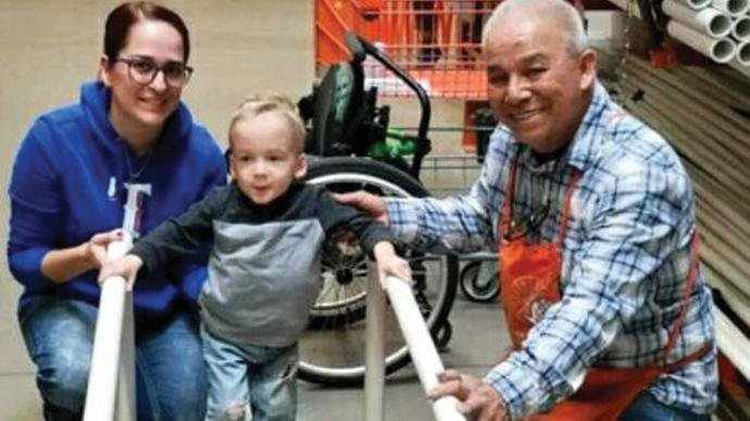 homedepotgivesback - Home Depot Shop Attendant Builds Hope For Disabled Baby Upon Knowing Her Mother Could Not Afford Therapy