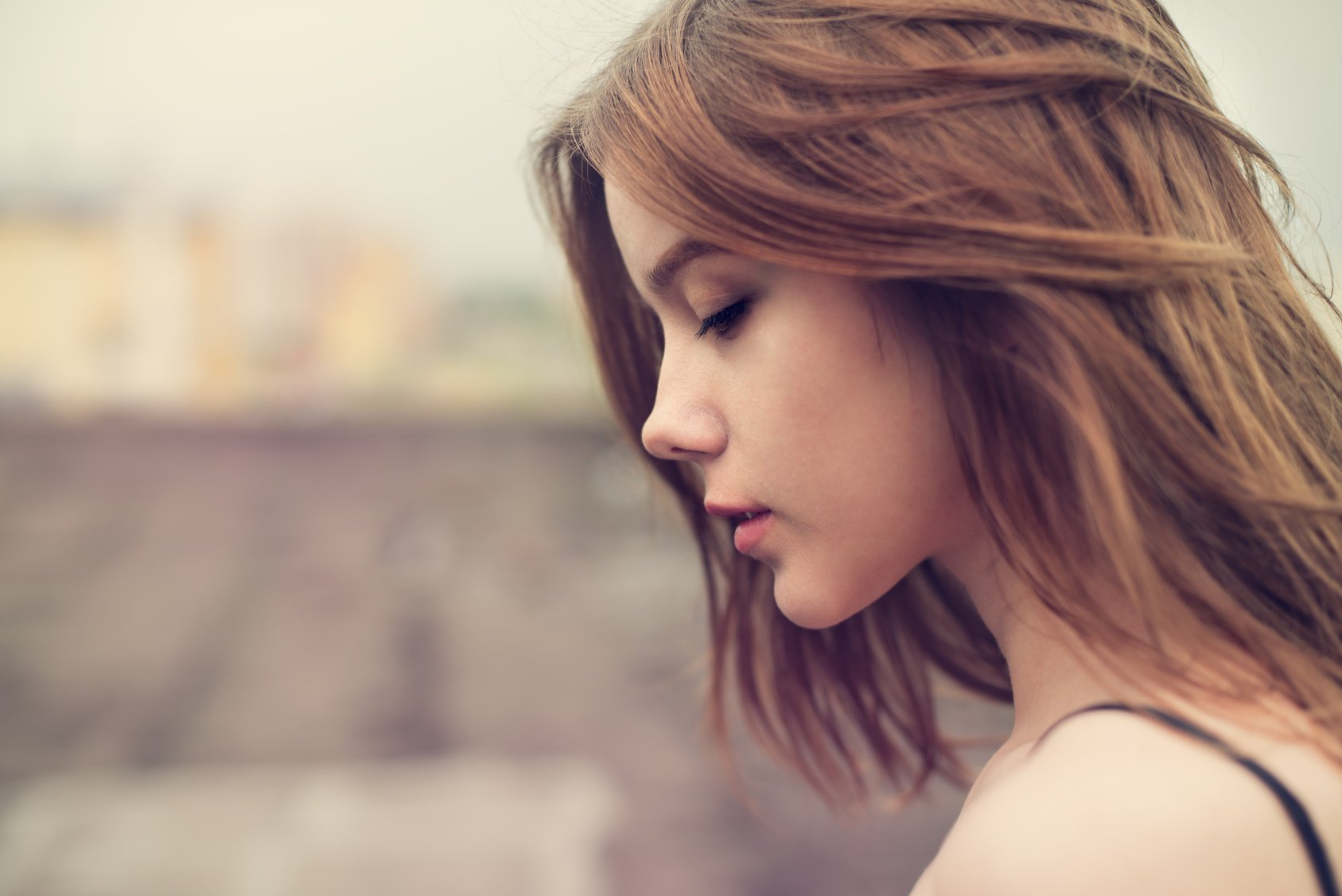 Profile of a beautiful girl closeup