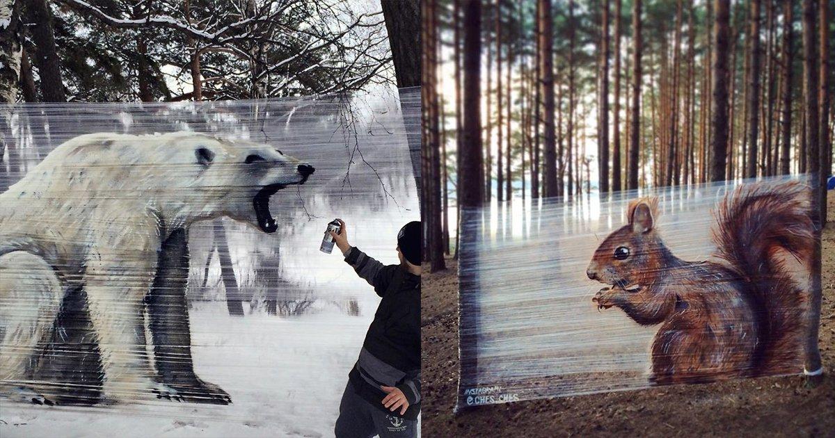 mainphoto cello - Des graffitis incroyables en forêt sur... de la cellophane!