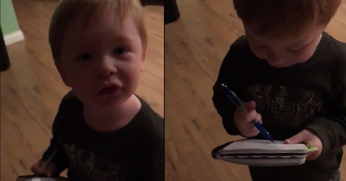 mainphoto enfantlist - Ce petit garçon qui prépare la liste des courses va vous faire sourire!