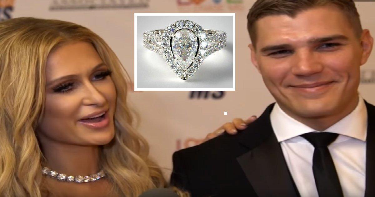 parishilton2 1.png?resize=300,169 - Paris Hilton se comprometió, y su anillo es tan caro que la seguridad debe seguirla a todas partes para proteger el anillo