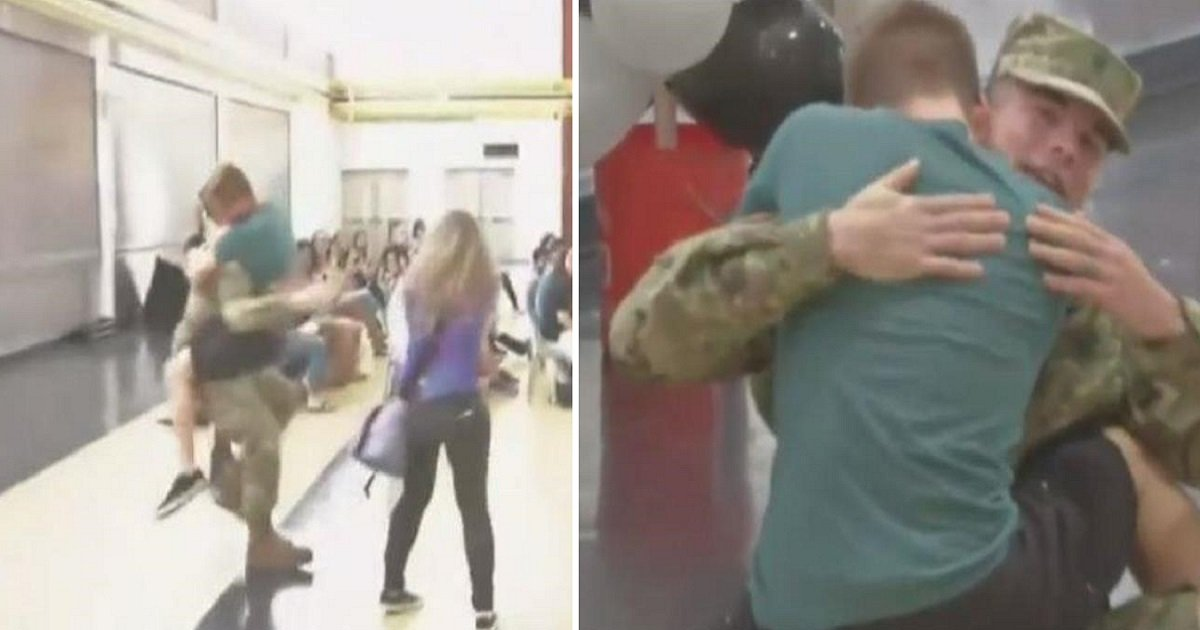 reunion15 1 - Students Start Screaming When They See Soldier, Then His Teen Brother Runs Toward Him