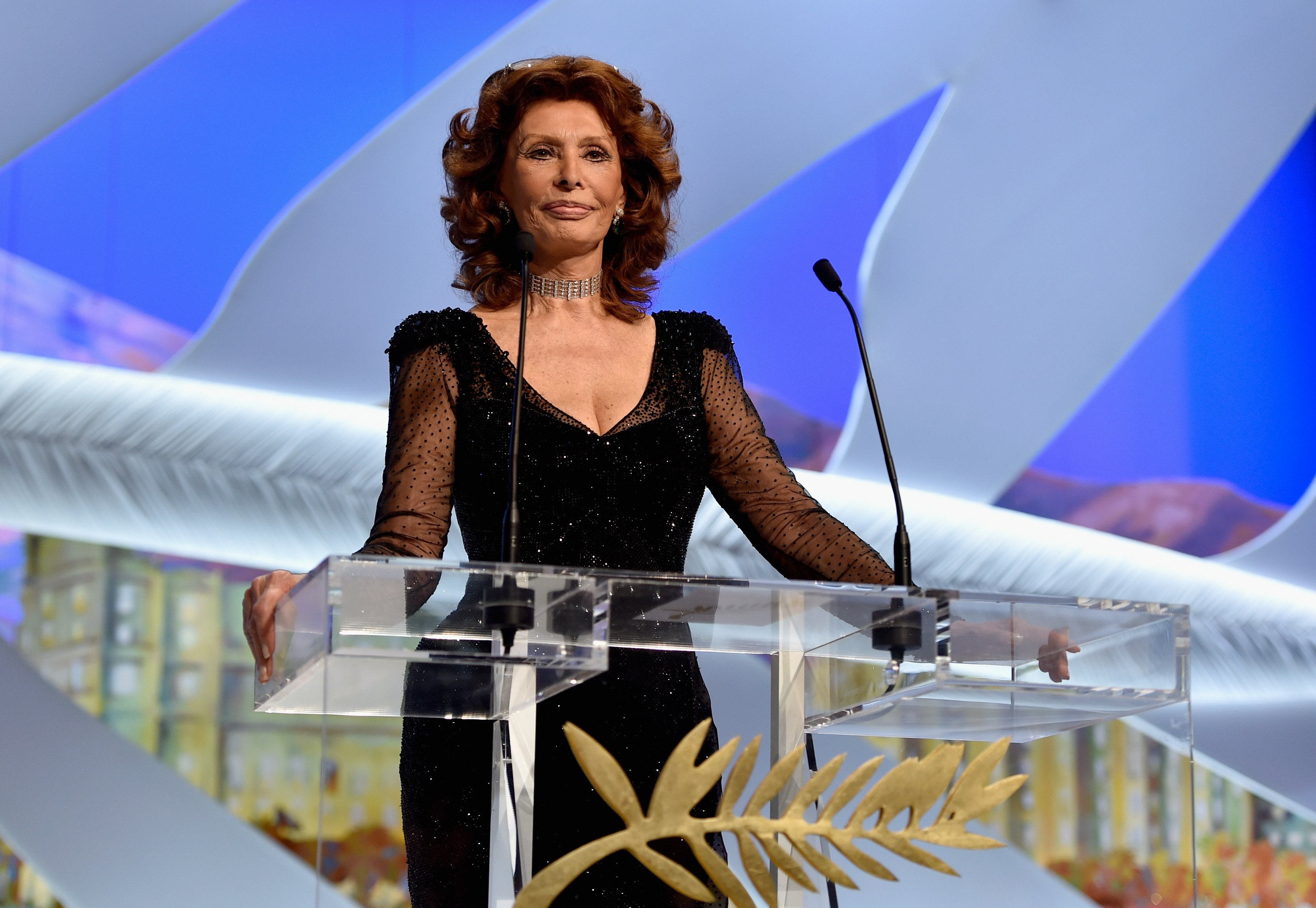 CANNES, FRANCE - MAY 24: Actress Sophia Loren appears on stage to present The Grand Prix award during the Closing Ceremony at the 67th Annual Cannes Film Festival on May 24, 2014 in Cannes, France. (Photo by Pascal Le Segretain/Getty Images)