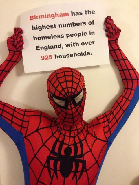 spider man helps feeds homeless birmingham uk 2 e1516945048945 - Birmingham Finds A Real-Life Superhero, Making Sure No One Sleeps Hungry!