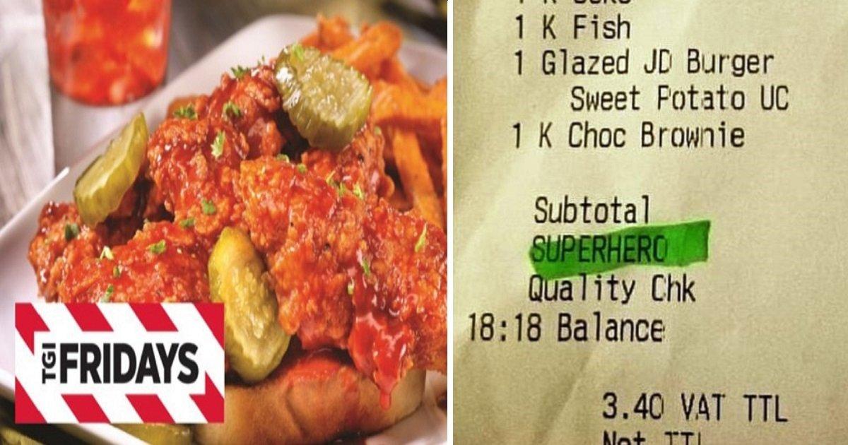 tgif 1 - TGI Fridays Says 'SUPERHERO' Discount On Receipt