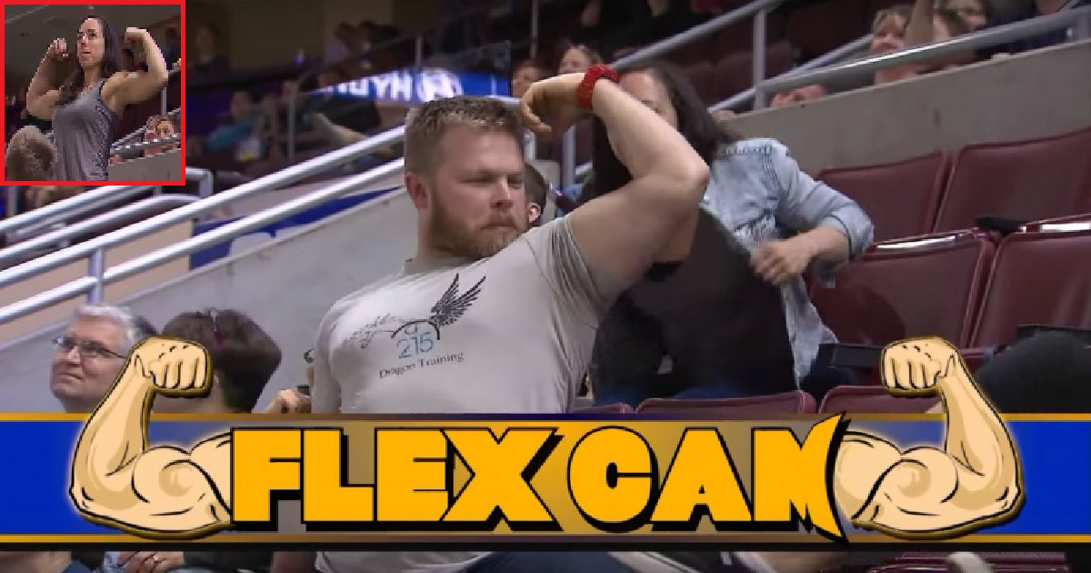 thumb nail flex game 1 - Strong Woman Embarasses A Man Showing Off His Muscles On His Flex Cam Debut.