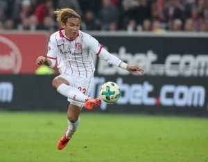 DUESSELDORF, GERMANY - OCTOBER 02: Takashi Usami of Duesseldorf passes the ball during the Second Bundesliga match between Fortuna Duesseldorf and MSV Duisburg at Esprit-Arena on October 2, 2017 in Duesseldorf, Germany. (Photo by Juergen Schwarz/Bongarts/Getty Images)