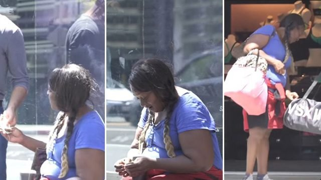 Man gives homeless woman a wad of cash. Then she buys something nobody expected!