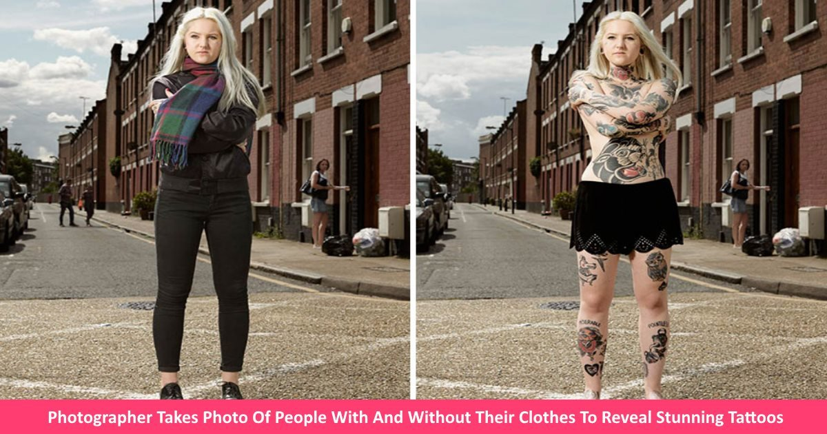 withtattoos.jpg?resize=1200,630 - Photographer Takes Photo Of People With And Without Their Clothes To Reveal Stunning Tattoos