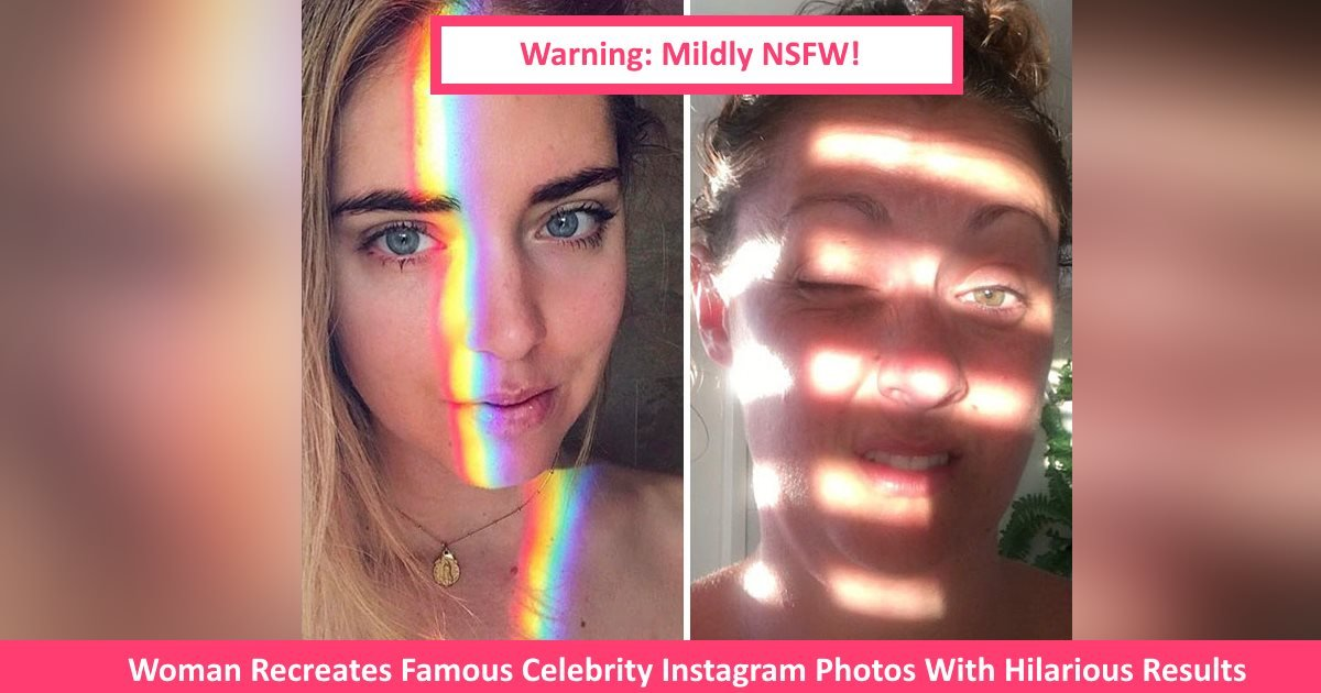 womaninstagramceleb.jpg?resize=1200,630 - Woman Recreates Famous Celebrity Instagram Photos With Hilarious Results