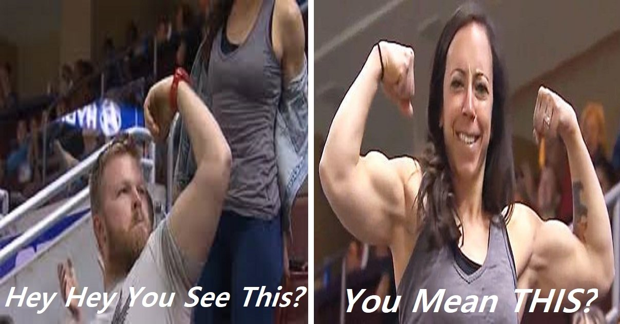 ygbh.jpg?resize=1200,630 - Flex Cam! Woman Out-Muscles The Man On Stadium Who Tries To Show Off!