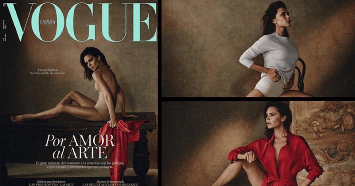 111111111 - Victoria Beckham porte un justaucorps couleur chair en couverture de Vogue Espagne