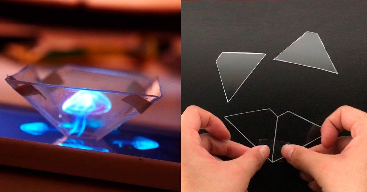 3d hologram banner - Transforme seu telefone em um projetor 3D em menos de 10 minutos