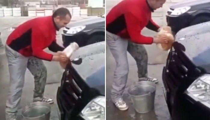 5 56 - '새끼 고양이'를 차량 청소용 스펀지로 사용한 남성 (영상)