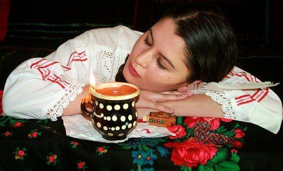 소녀, T, 쓰기, 양초, 피로, 전통