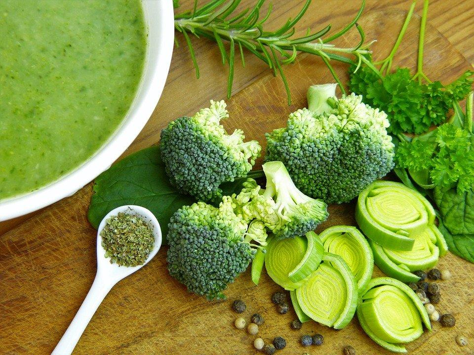수프, 야채, 브로콜리, 부추, 후추, 곡식, 음식, 식사, 요리사, 채식, 법정, 건강한
