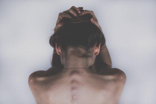 여자, 소녀, 사람들, 몸, 해부학, 손, 머리, 등뼈, 어깨, 뒤로