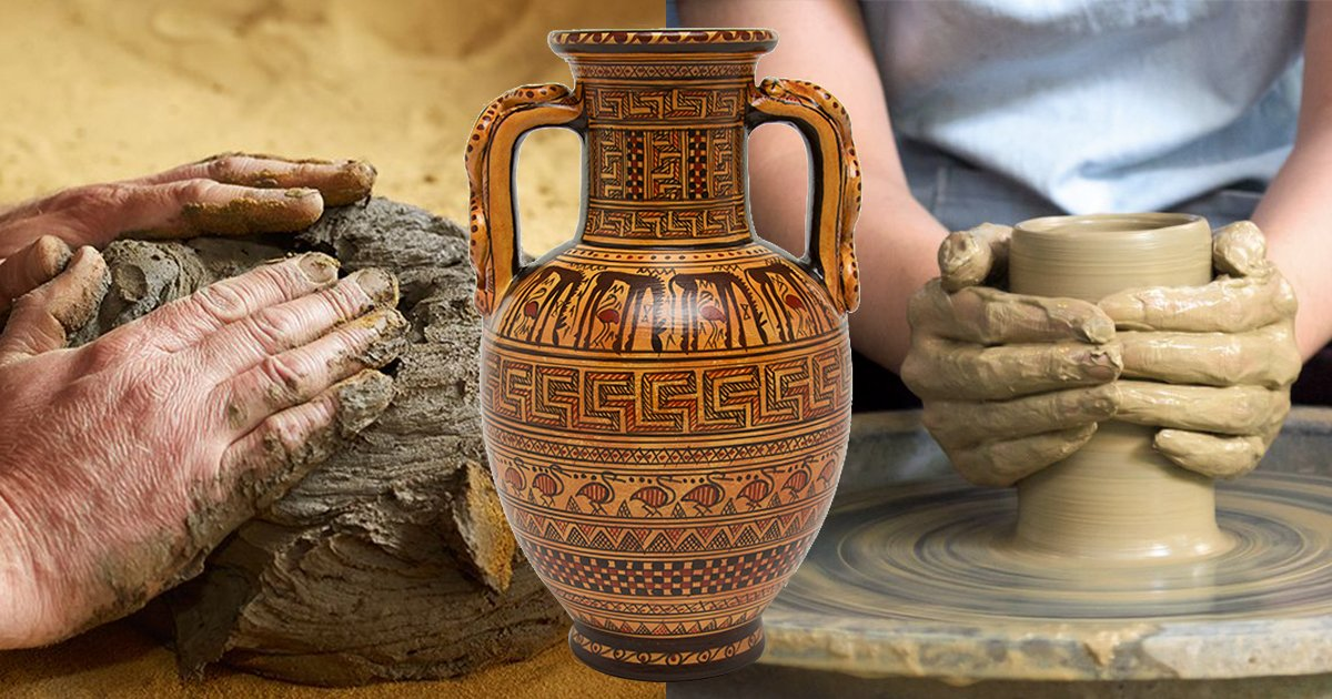 Source: https://www.thespruce.com/how-to-bisque-fire-pottery-2745874 https://shop.getty.edu/products/greek-geometric-amphora-vase https://www.thespruce.com/clay-basics-2746314