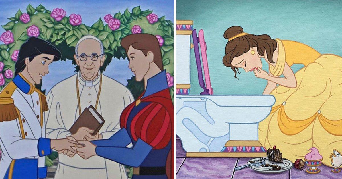 article thumbnail 17.jpg?resize=1200,630 - '현대 사회'에 살고 있는 디즈니 캐릭터들을 묘사한 일러스트 24장