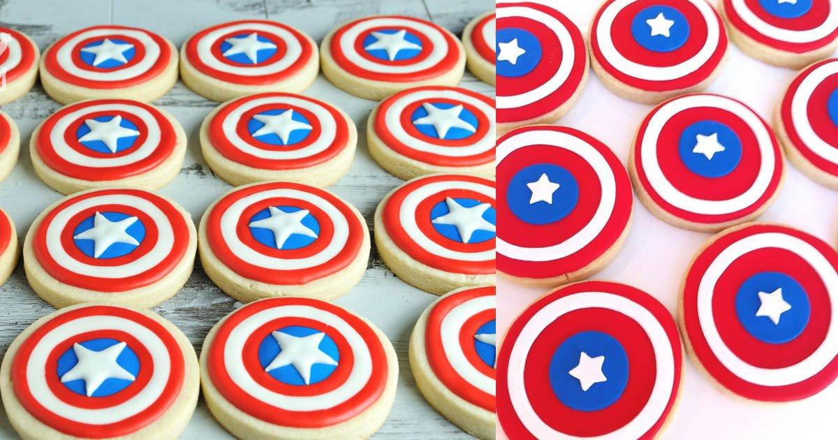 Source https://www.pinterest.co.uk/pin/201747258279330299/ http://www.hanielas.com/2015/10/captain-america-shield-cookies.html