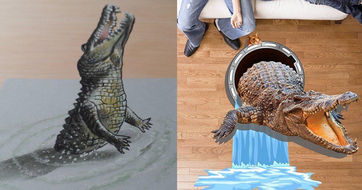 crocodile.jpg?resize=300,169 - [Vidéo] Ce dessin de crocodile en 3D va vous retourner le cerveau
