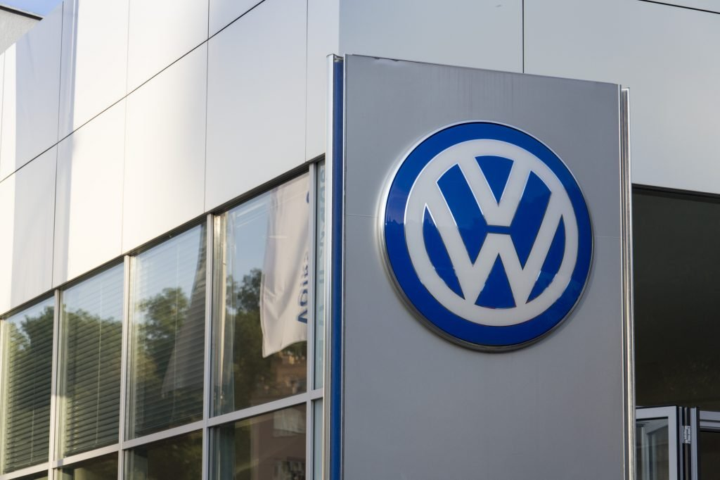 Volkswagen carmaker logo on a building of czech dealership