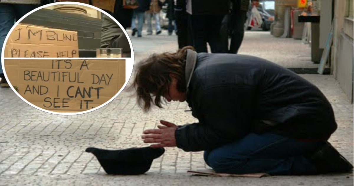 """dogthumb - Blind Man's Fortune Changes When Stranger Changes, """"I am blind, please help."""" Sign to New Message"""
